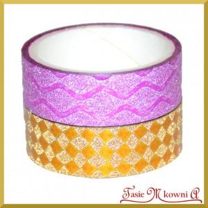 Zestaw taśm metalicznych różowe falbanki/złota kratka 1,5cm/3mb