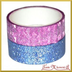 Zestaw taśm metalicznych różowa kratka/niebieski brokat 1,5cm/3mb
