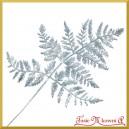Liść paproci z brokatem SREBRNY 35cm (S057)