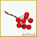 Jagódki czerwone na druciku 10cm 20 gałązek (8 owoców w każdej wiązce)