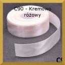 Tasiemka satynowa 25mm kolor C90 Kremowo-różowa