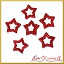 Gwiazdki brokatowe czerwone 3,5cm/48szt. PUDEŁKO