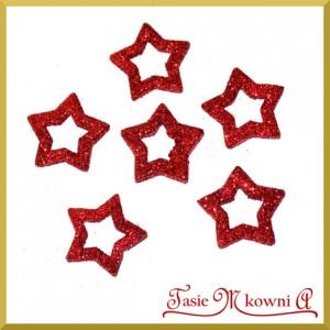 Gwiazdki brokatowe czerwone 3,5cm/6szt.