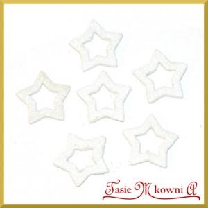 Gwiazdki brokatowe białe 3,5cm/6szt.