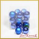 Bombki szklane matowo-błyszczące niebieskie BOX 3cm/18szt.