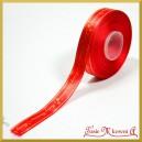 Tasiemka SATYNOWA czerwona ze złotym napisem Merry Christmas 17mm/1mb