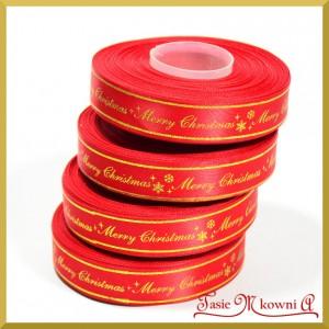 Tasiemka SATYNOWA czerwona ze złotym napisem Merry Christmas 17mm/27mb