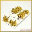 Brokatowe kuleczki złote zestaw 8 gałązek 8 owoców na każdej