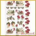 Papier ryżowy A4 R0600 - gwiazdy betlejemskie jagódki sanki