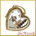 Zawieszka drewniana SERCE w sercu 3D z bałwankiem dwustronne 8cm