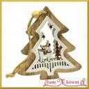 Zawieszka drewniana CHOINKA w choince 3D z bałwankiem dwustronna 10cm