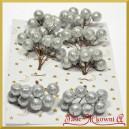 Brokatowe kuleczki srebrne zestaw 8 gałązek 8 owoców na każdej