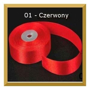 Tasiemka satynowa 25mm kolor 01 Czerwona