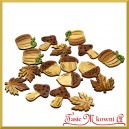 Drewniane JESIENNE KSZTAŁTKI (grzyb liść dynia żołądź) mix rozmiaru 16szt.