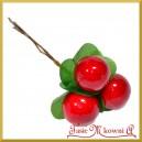 Duże jagody na druciku z listakami - gałązka 3 owoce