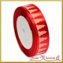 Tasiemka SATYNOWA czerwona z motywem CHOINEK 25mm/22mb ROLKA