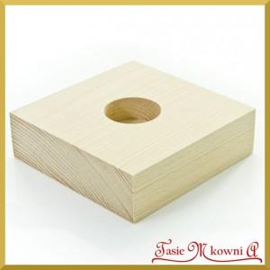 Drewniany świecznik pojedyńczy - 12 cm x 12 cm