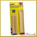 Drewniany piórnik+kredki i temperówka Decoupage