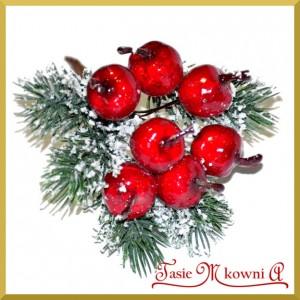 Jabłuszka na druciku z igliwiem ośnieżone - gałązka 6 owoców