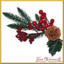 Gałązka ozdobna z igliwiem SZYSZKA  borówka jagody ok 30cm