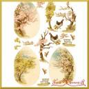 Przegródki ozdobne  - TAG0124-  drzewa i kury