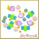 Naklejki z pianki ślimaczki, motyle, kwiatki 20szt