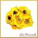 Kwiaty bratki na druciku 6szt. żółto pomarańczowe