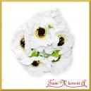 Kwiaty bratki na druciku 6szt białe