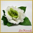 RÓŻA KRÓTKA ok 30 cm biała z zielonym środkiem