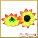 Kwiatuszki materiałowe SŁONECZNIKI  POMARAŃCZOWO-ŻÓŁTE 4CM