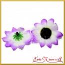 Kwiatuszki materiałowe SŁONECZNIKI  FIOLETOWO-BIAŁE 4CM