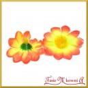 Kwiatuszki materiałowe stokrotki małe pomarańczowo-żółte 3,5cm