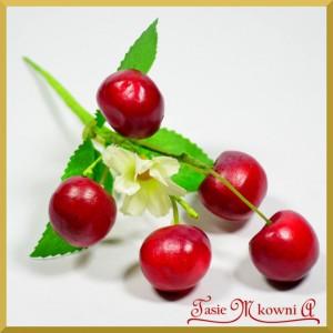 Wiśnie na druciku z listkami - gałązka 5 owoców