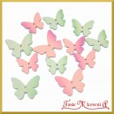 MOTYLKI drewniane pastelowe różowo-niebieskie 12szt.