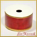 Tasiemka metalizowana czerwona ze złotym brzegiem 4cm/8mb