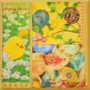 Serwetka do Decoupage Happy Easter pisanki i kurczaczek