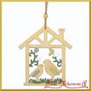 Domek drewniany z ptaszkami - zawieszka ozdobna 1szt.