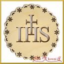Emblemat ażurowy okrągły IHS ze sklejki 10cm