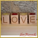 Świeczniki słupkowe - GRAWER LOVE zestaw 4 sztuk