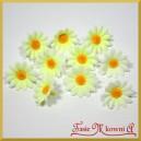 Kwiatuszki materiałowe MINI stokrotki biało-cytrynowe 3cm/25szt.
