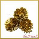 Szyszki złote DUŻE na druciku 6,5cm/3szt.