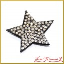 Gwiazdki czarne z drobinkami kryształków - ozdoby na przylepcu 3,5cm/6szt.