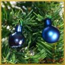 Bombki szklane na druciku zimny niebieskie matowo-błyszczące  2cm/36szt. HURT