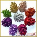 Szyszki brokatowe mix kolorów 3cm/9szt
