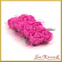 AMARANTOWE różyczki z pianki z TIULEM 2cm 12szt. (AL1096)