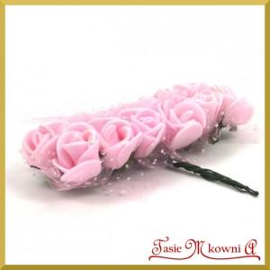 JASNE RÓŻOWE różyczki z pianki z TIULEM 2cm 12szt. (AL1096)