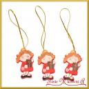 Zawieszka drewniana aniołki w czerwonej sukience 3szt/5,5cm