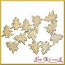 Biało złote choinki z gipsu na przylepcu 3,5cm/12szt.