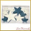 Gwiazdki drewniane w dwóch kolorach, trzech rozmiarach 18 szt