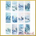 Papier ryżowy A4 R1497 niebieski pejzaż zimowy